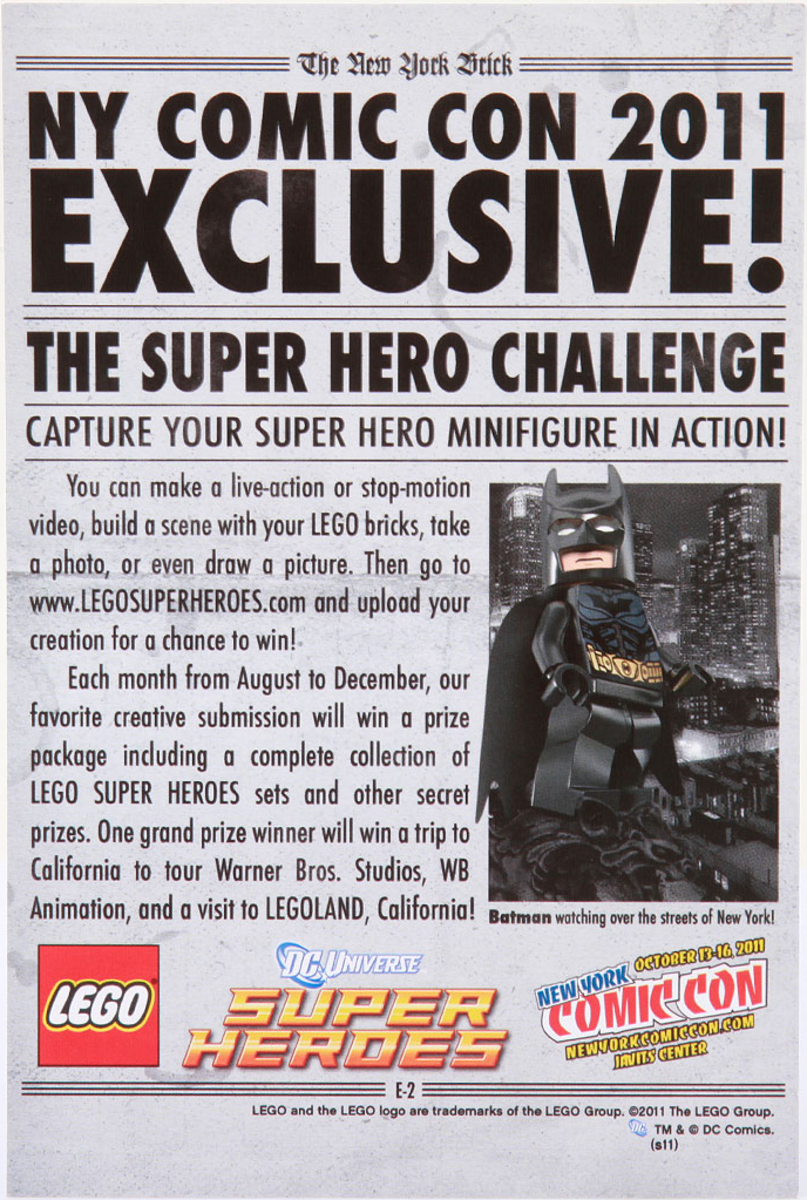 LEGO Batman Newspaper Back New York Comic Con 2011