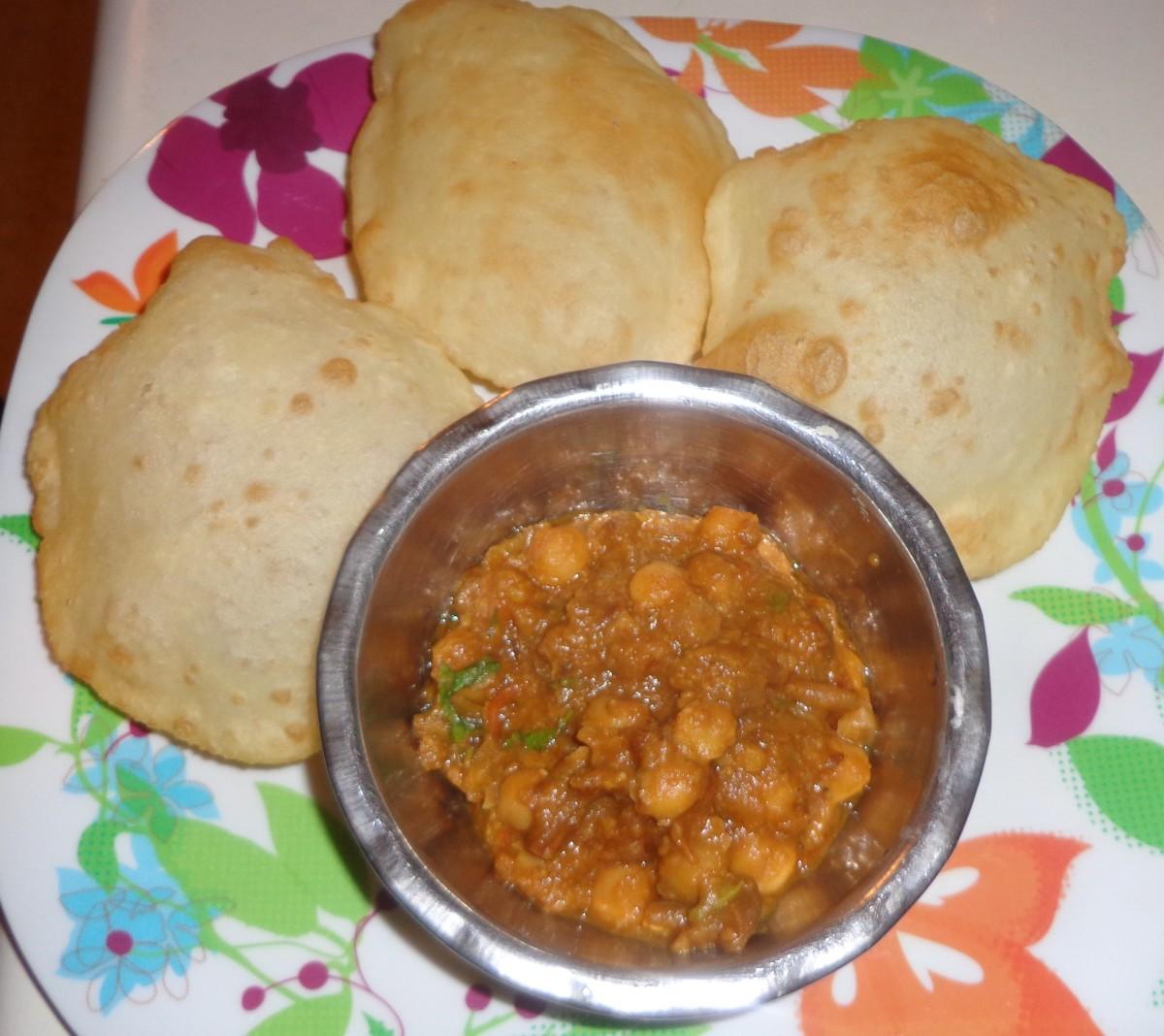 Bhatura with channa masala