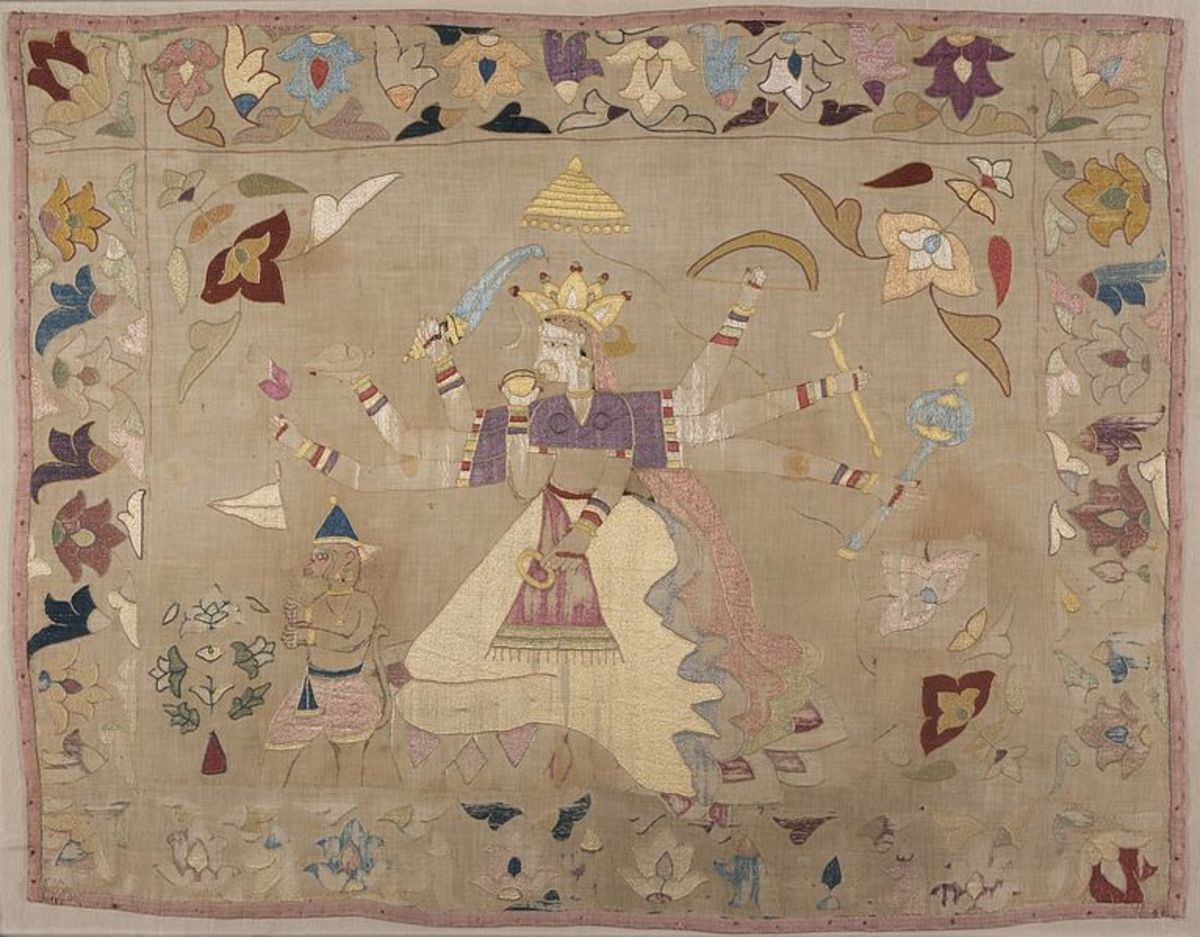 Chamba Rumal with Scenes of Sita and Hanuman