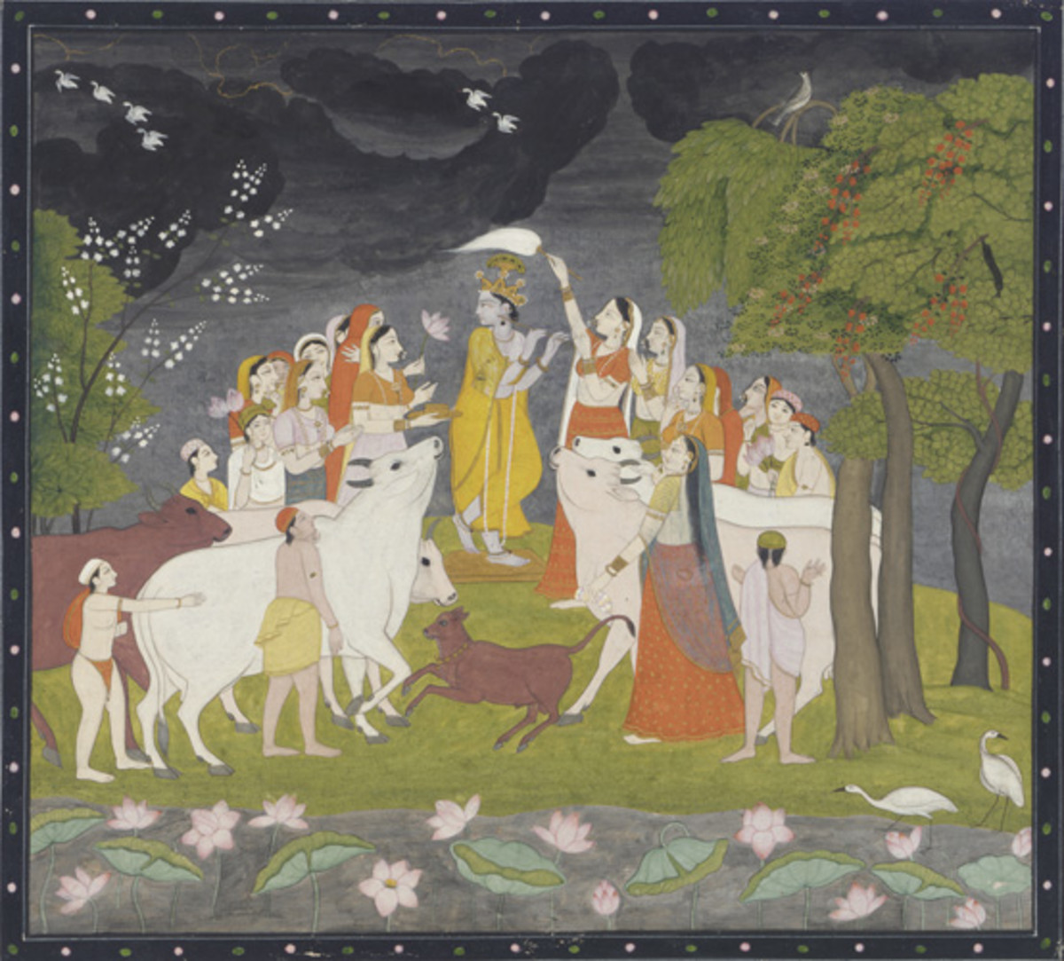 Sri Krsna playing a flut, Opaque watercolor and gold on paper, 1790-1800, Guler- Kangra region, India