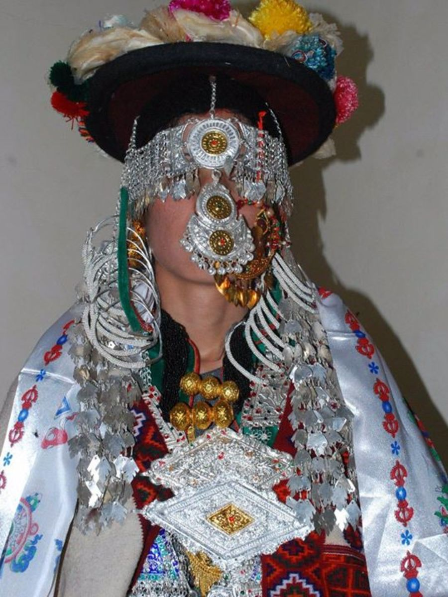 The woman of Kinnaur in Traditional dress and Jewelry