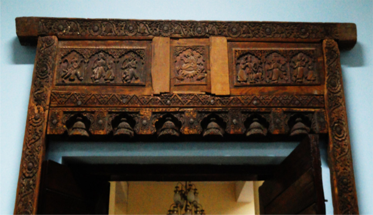 A decorative piece for the top portion of a door at Chamba