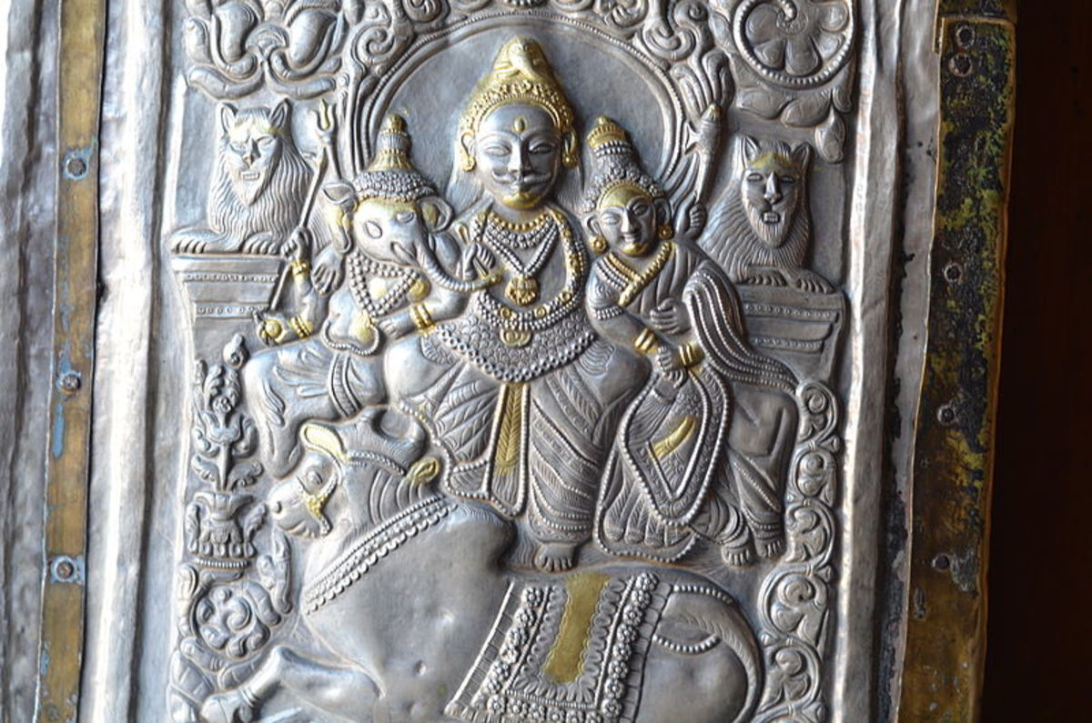 Lord Siva's family,on the entrance door  of  Bhimakalui temple at Sarahan in Shinla - the Repousse technique