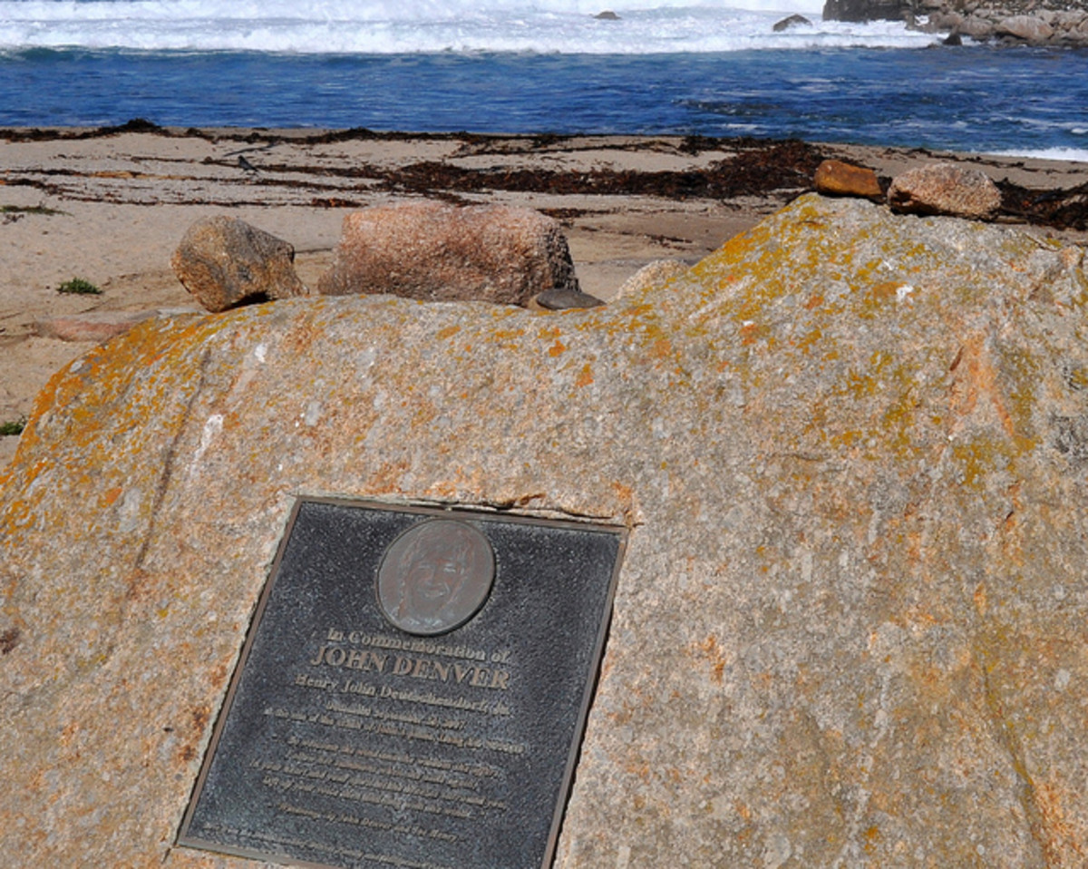 The plaque marking the location of John Denver's plane crash in Pacific Grove, California