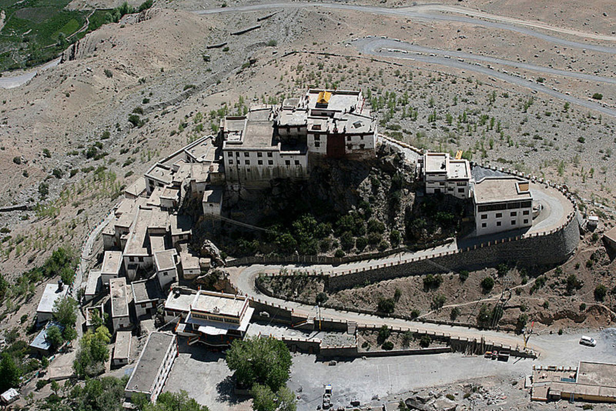 A birds eye view of Kye monastery in Spiti valley. It is one of the most famous monasteries in Lahaul and Spiti.