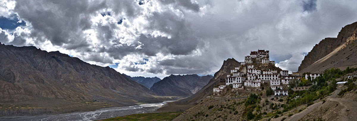 Peace in the Himalayan Valley. 1000 year old Key monastery, Spiti Valley, Himachal pradesh