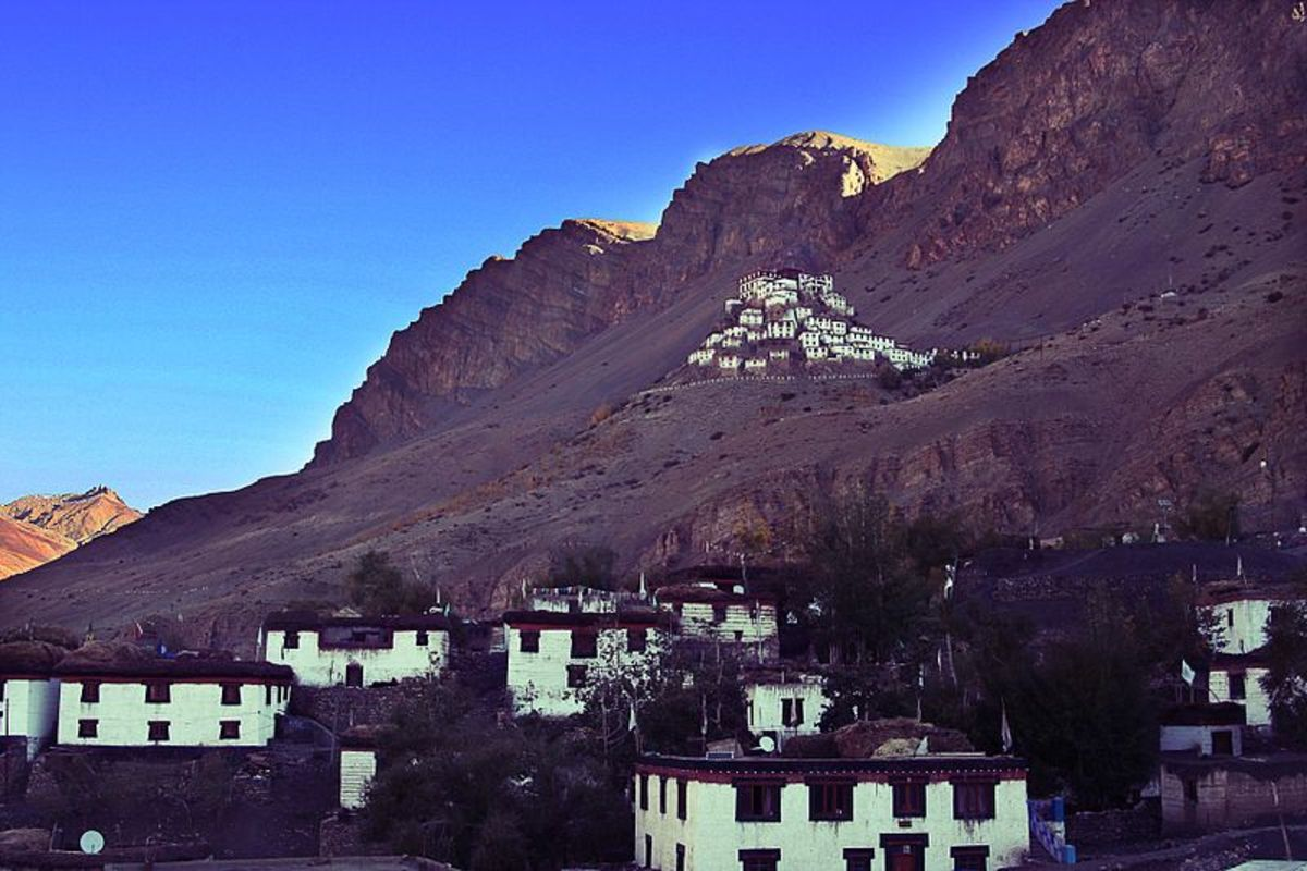Kye Monastery of Buddhist Religion shot From Kaza Town in Spiti Valley,Himachal Pardesh,India.