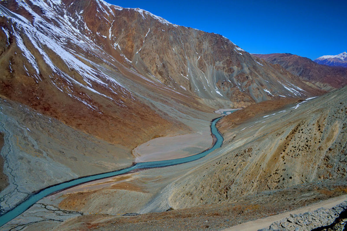 View of Chandra River near the Kanzum pass