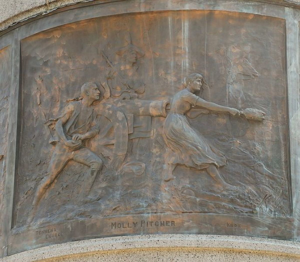 Engraving on the Molly Pitcher monument, by James E. Kelly (artist) (1884), on base of Monmouth Battle Monument, in front of   courthouse in Freehold, NJ.