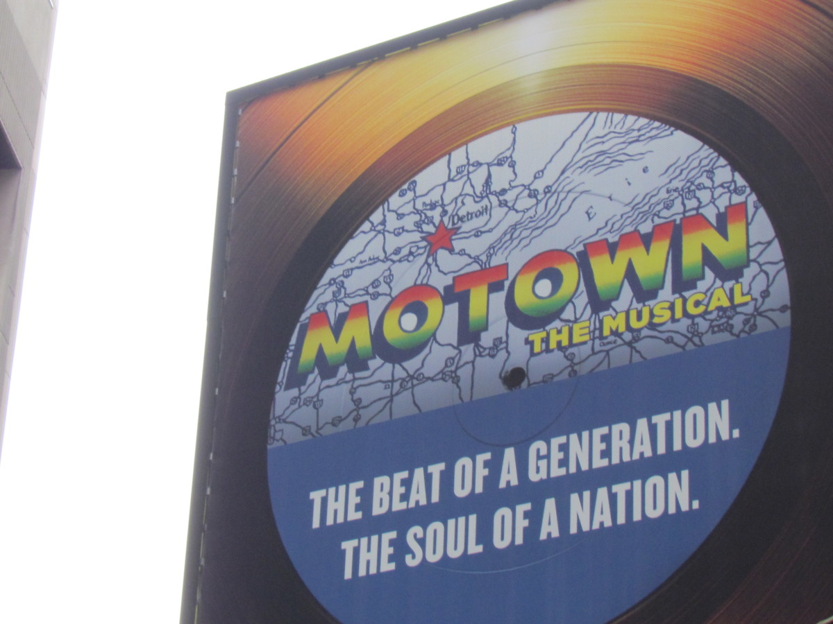 The sign outside of the Lunt-Fontanne Theatre, Broadway & 46th St., of Motown The Musical.