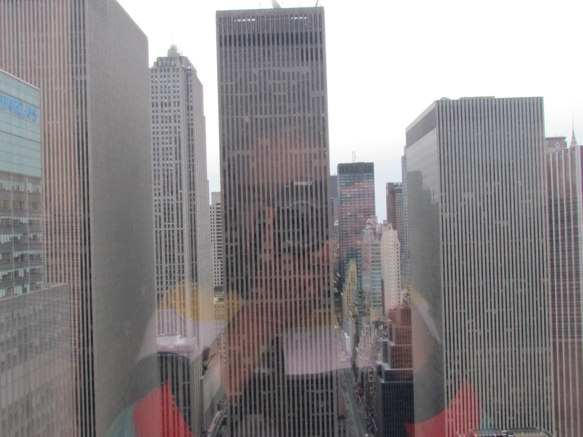 A view of towering buildings from my room at Crowne Plaza in New York's Times Square.