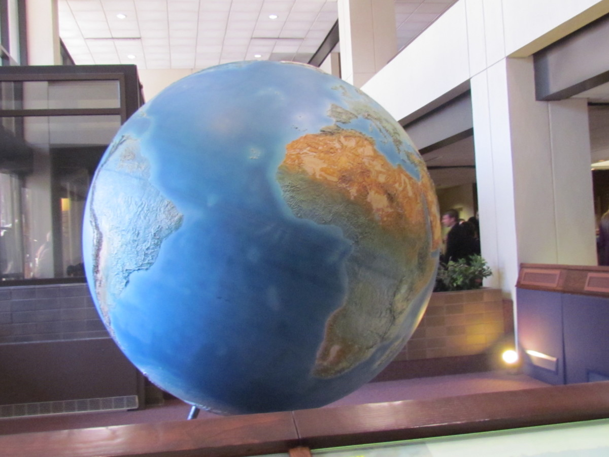 A picture of the earh's globe which is displayed in Brooklyn's Watchtower headquarters.