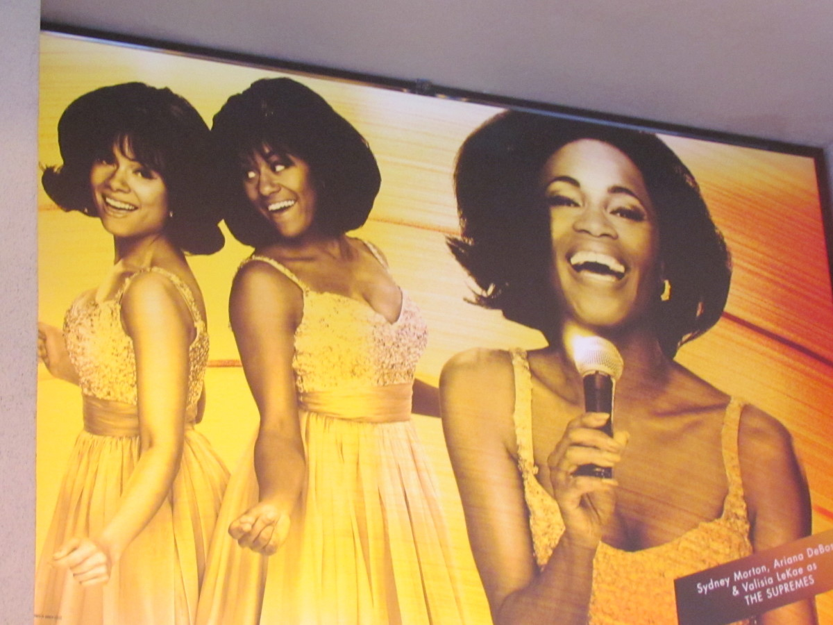 A towering photo on Times Square from Motown The Musical which portrayed the life of legendary Diana Ross and The Supremes.