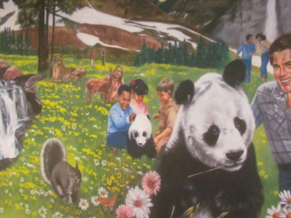 Paintings were displayed of the Bible's wonderful hope of a new world, where children will be able to play with various animals.