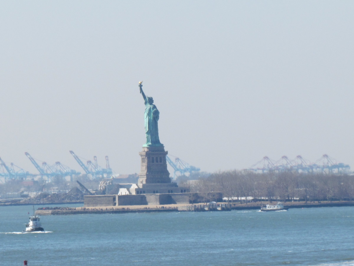 A photo of The Statute of Liberty which we saw during our tour in Brooklyn.