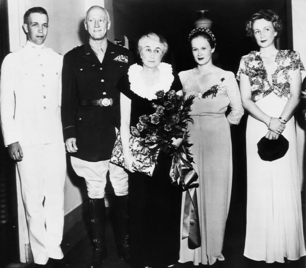The Patton Family in 1945. L-R: George IV, Gen. Patton, Bea, Ruth Ellen and Bea Ayer (wife of John Waters). It would be their last time together. The General left for Europe a short time later.