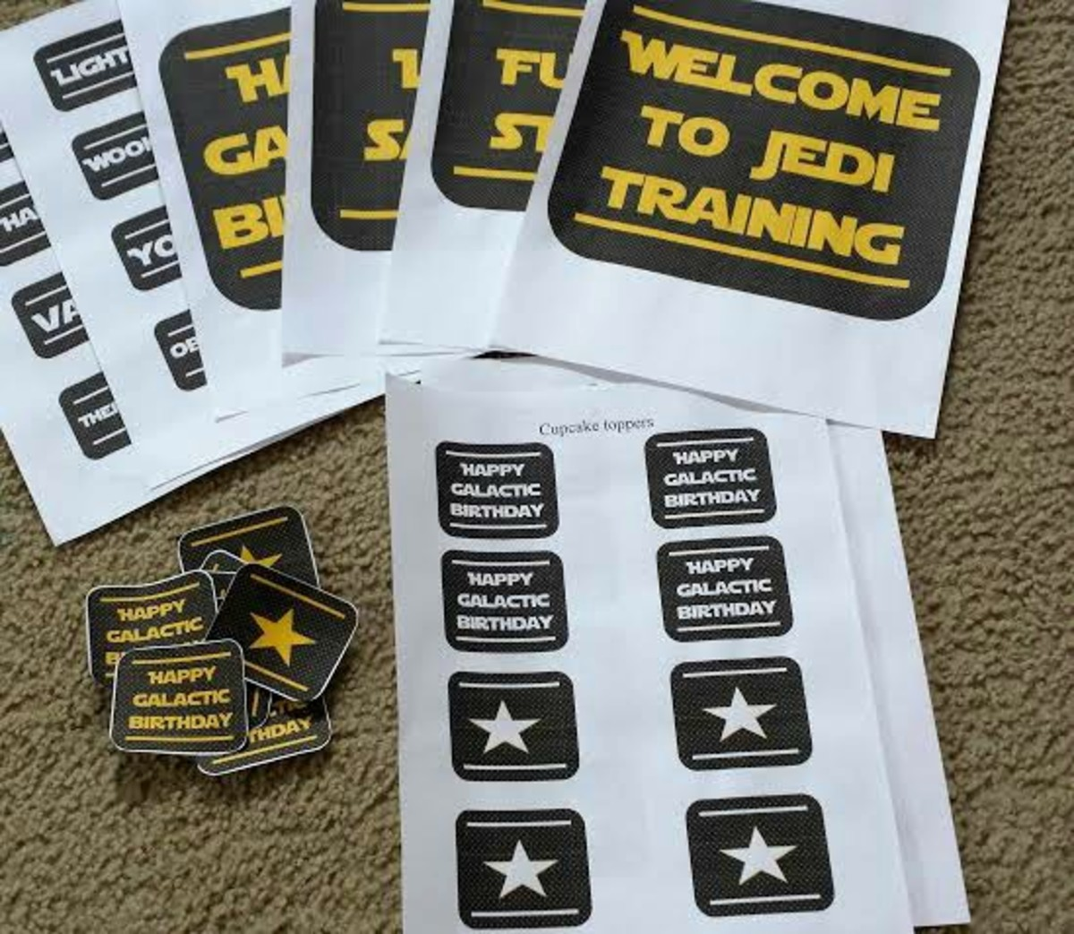 Free printables for these are online at allthingswithpurpose.com to make Star Wars Day or birthday party more fun.