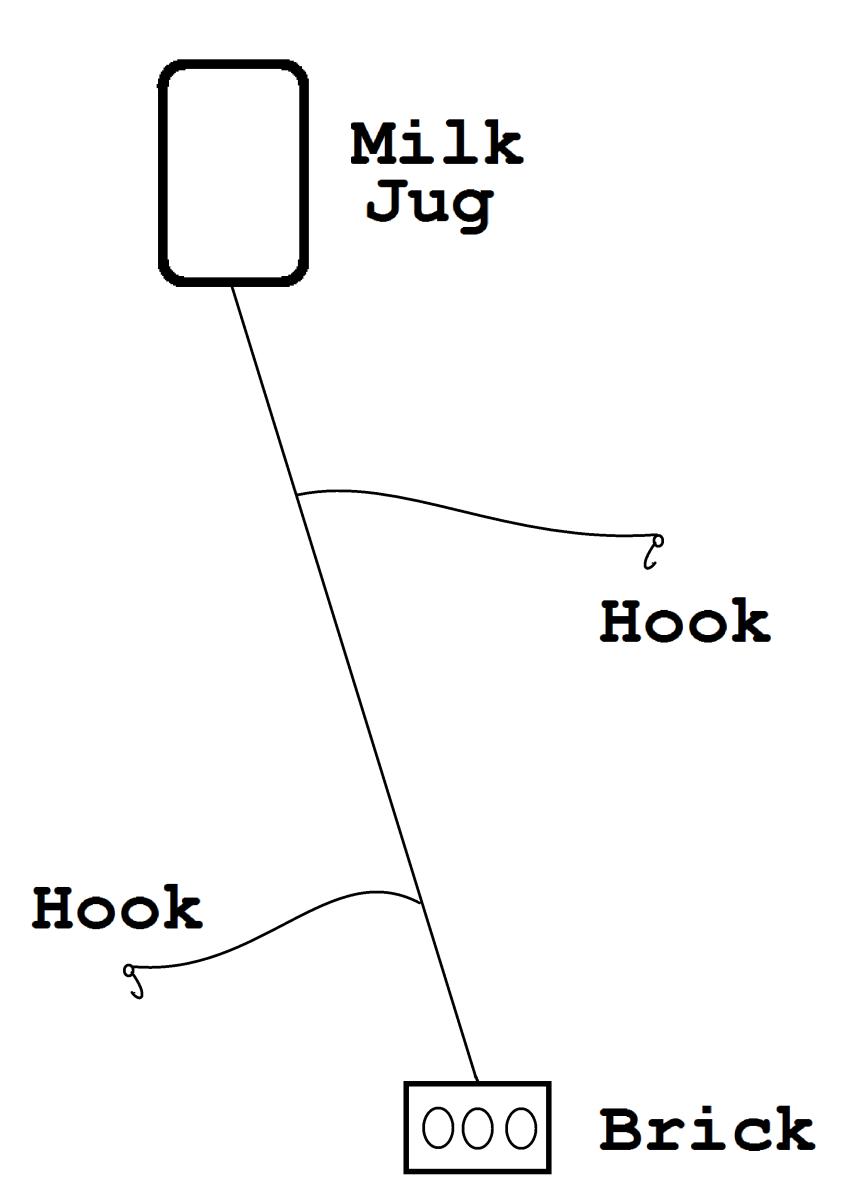 Stationary jug fishing rig.