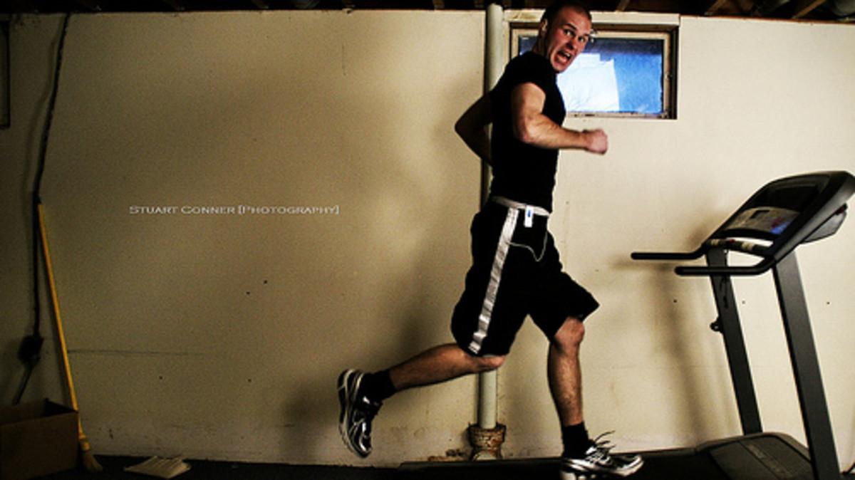 Running on a treadmill.
