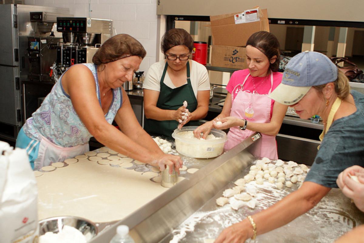 Making pierogi in a church kitchen!