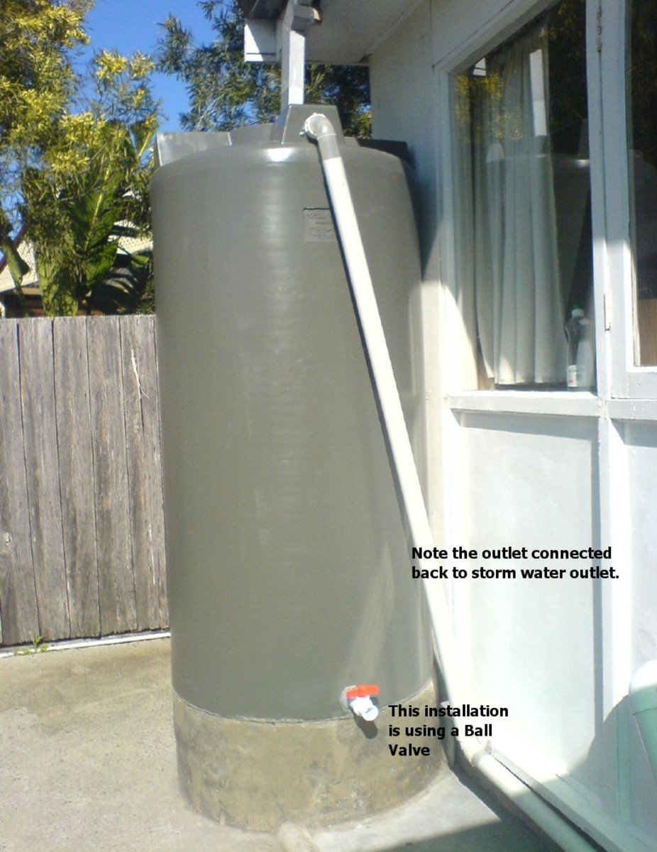 Water Storage Tank typical installation. note the return back to storm water outlet!