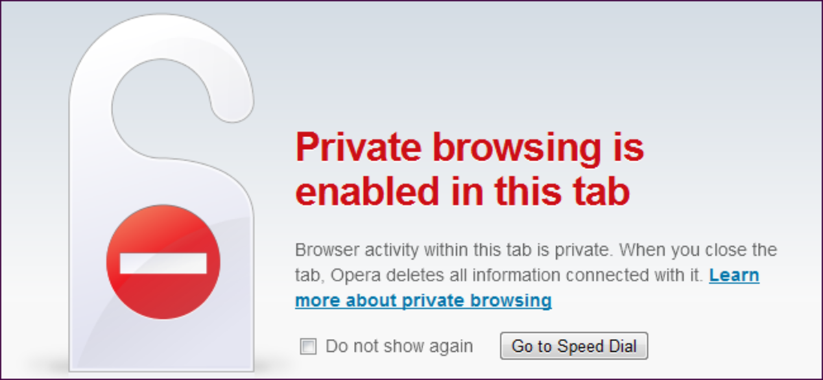 private browsing enabled poster explaining the differences