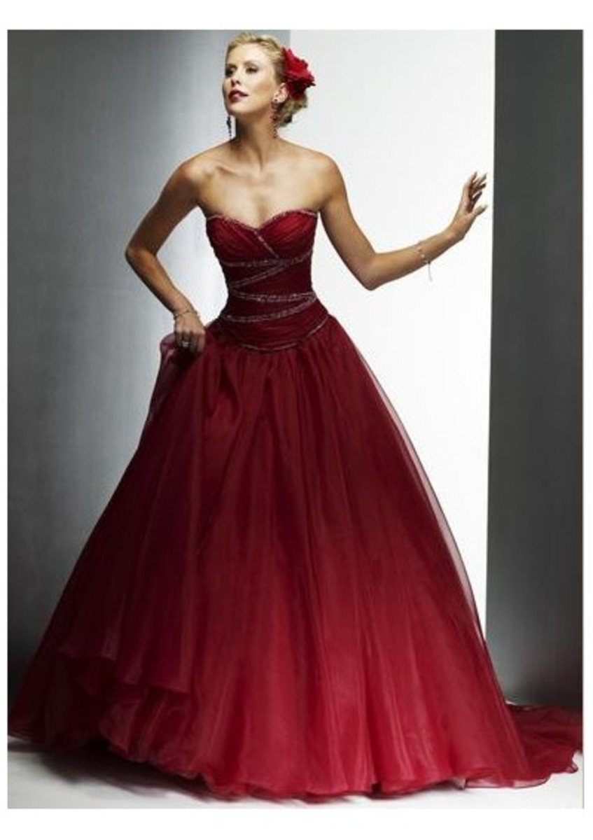 Wine Red Lace Ball Gown Dress www.bridalweddinggowns.ca