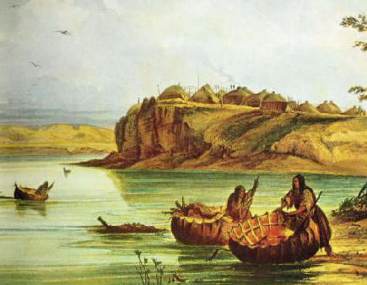 Painting of the Mandan people with their Coracle