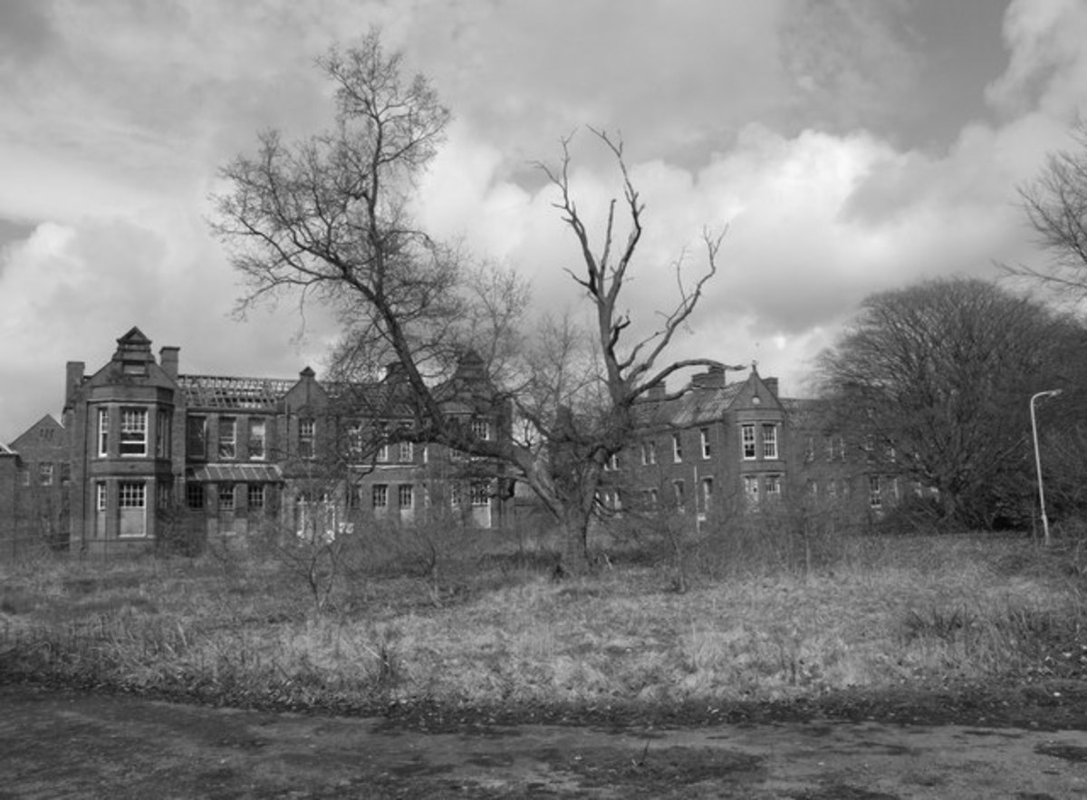 The roofless and decaying Cameron House Division at Whittingham Hospital, Lancashire, UK. Once the second largest mental asylum in Europe holding over 3000 patients.    Copyright Saul Beeson and licensed for reuse under this Creative Commons Licence