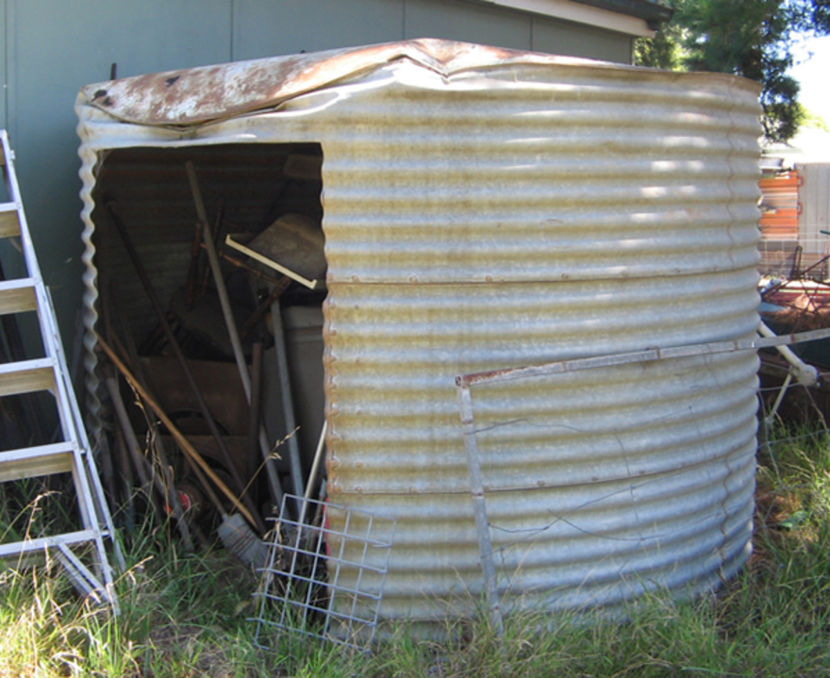 Water storage tank (well not any more) Aussie way of recycling.