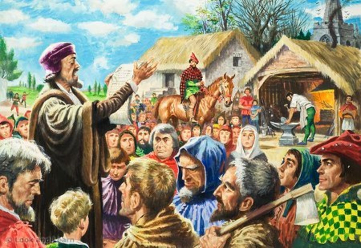 JOHN WYCLIFFE PREACHING IN THE COUNTRYSIDE OF ENGLAND