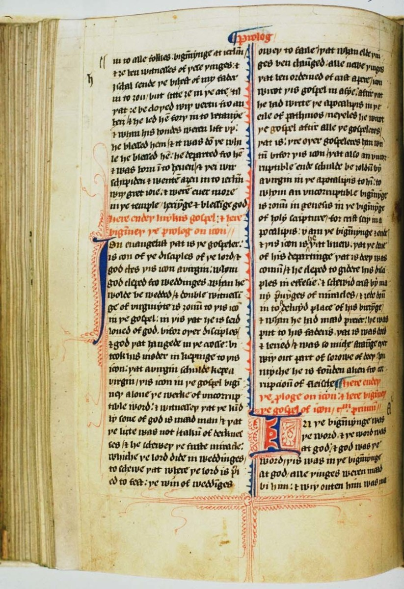 ONE PAGE FROM THE JOHN WYCLIFFE BIBLE IN OLDE ENGLISH