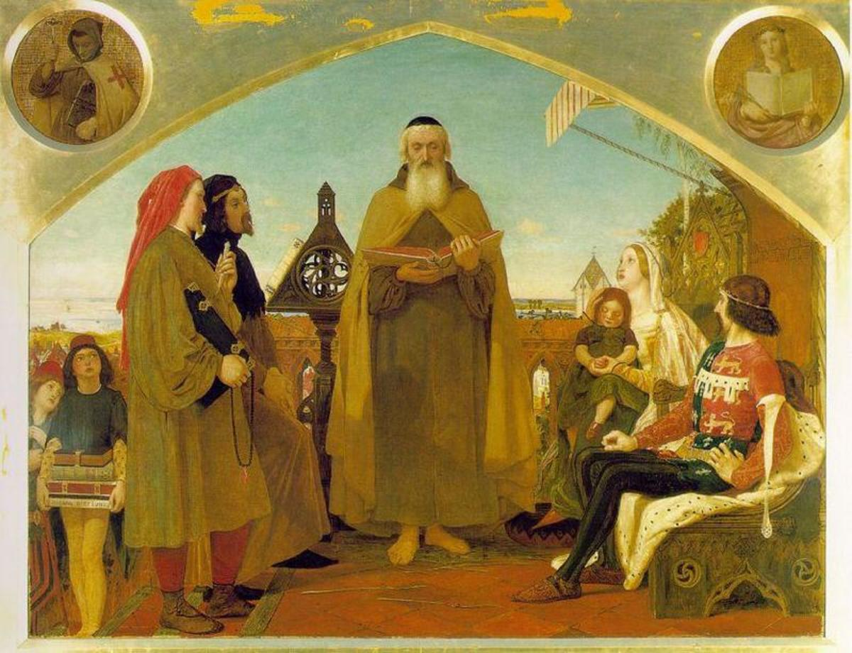 """JOHN WYCLIFFE READING HIS TRANSLATION OF THE BIBLE TO JOHN OF GAUNT"" AS PAINTED IN 1861 BY FORD MADOX BROWN"
