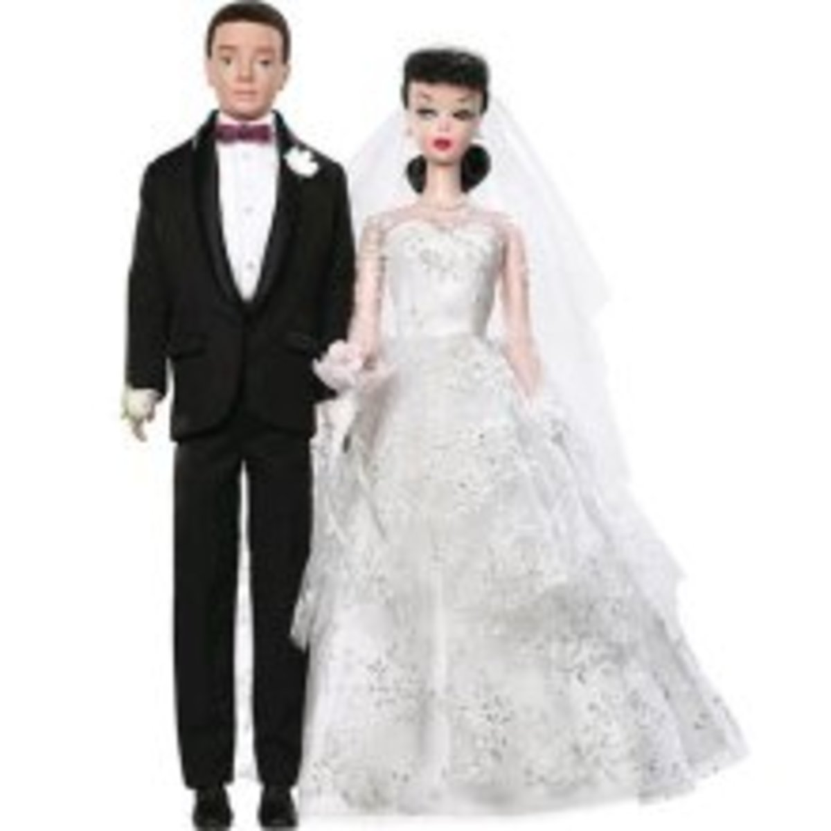 bride and groom barbie doll in classic black tux and white lace wedding dress