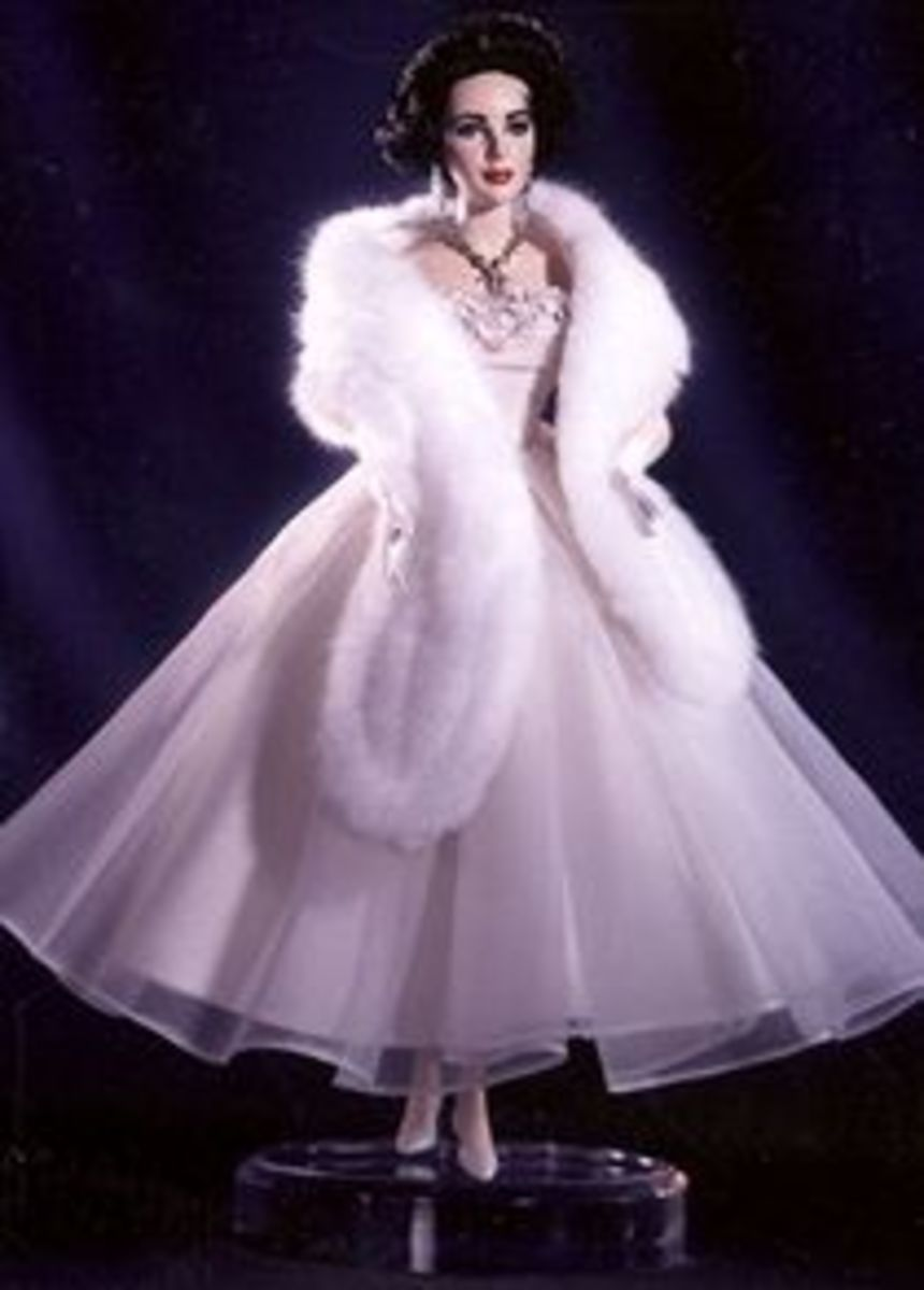 Elizabeth Taylor Barbie Doll Dressed in White with White Mink Stole