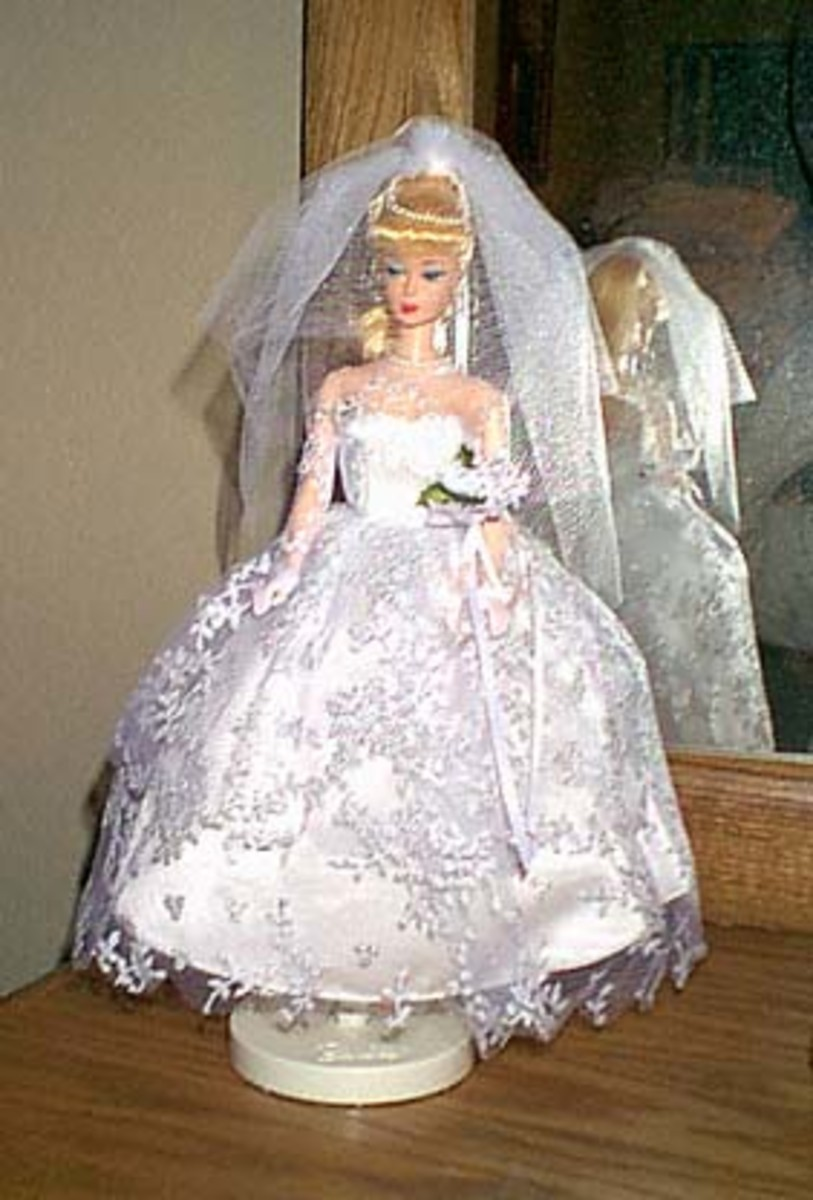 Barbie doll in wedding dress and veil