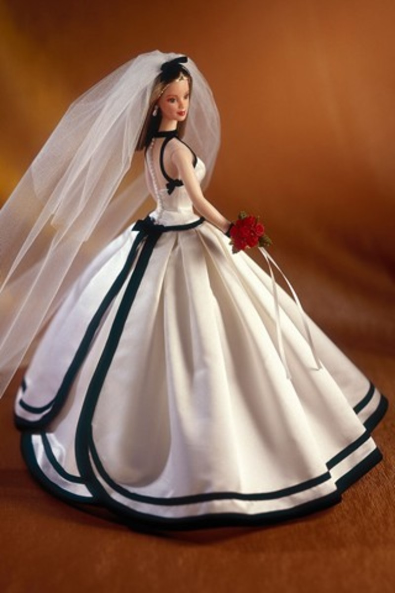 Barbie doll in evening dress with black trim - wedding dress
