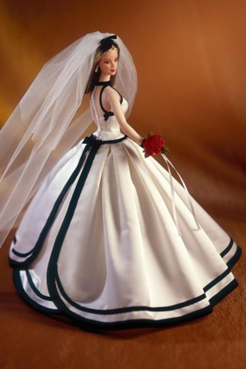 Barbie doll in evening dress with black trim - wedding dress