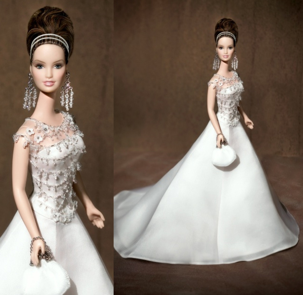 elegant Barbie doll in white evening wedding dress