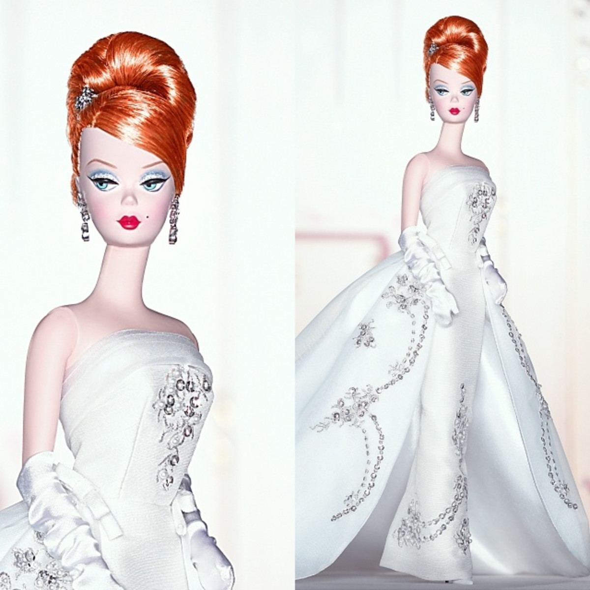 redhead Bridal Barbie doll in white elegant wedding dress