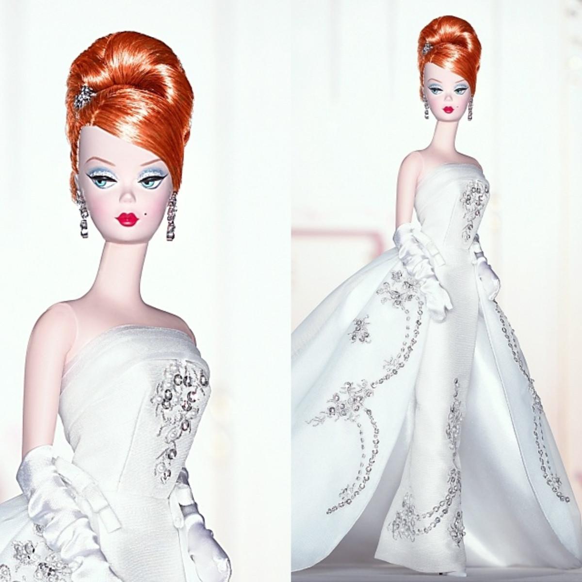 redhead Bridal Barbie doll in white elegant wedding dress