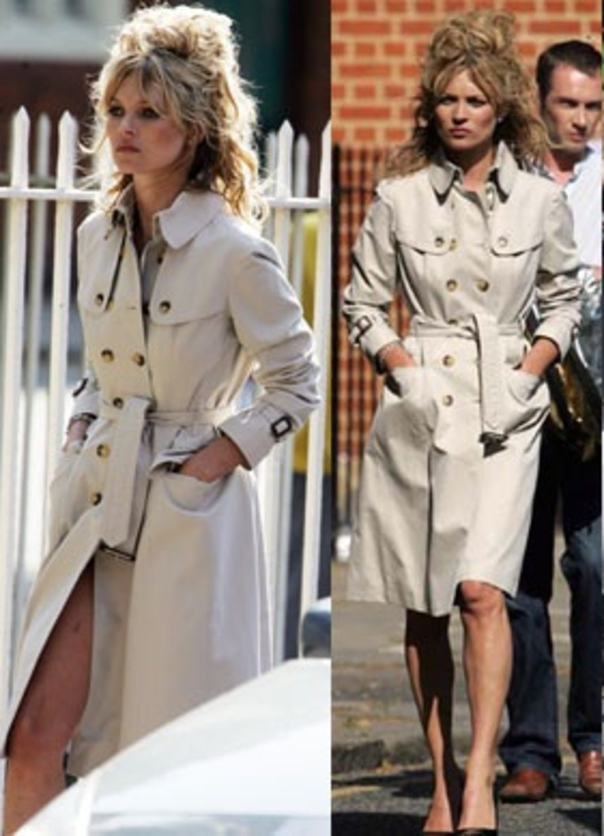 Kate Moss in East London the other day wearing a Burberry trench.