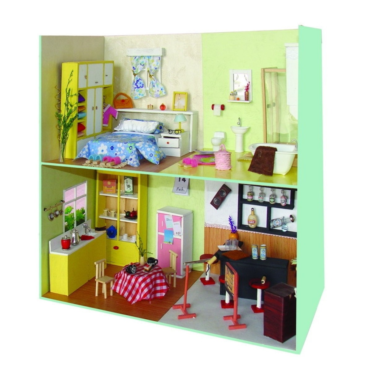 Miniature dolls rooms with simple furniture and furnishings.