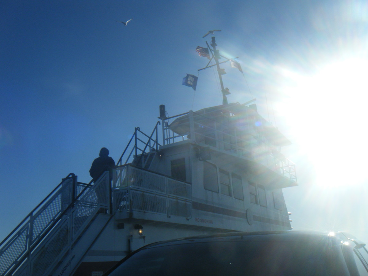 On the state operated ferry on the way from Hatteras Island over to Ocracoke Island