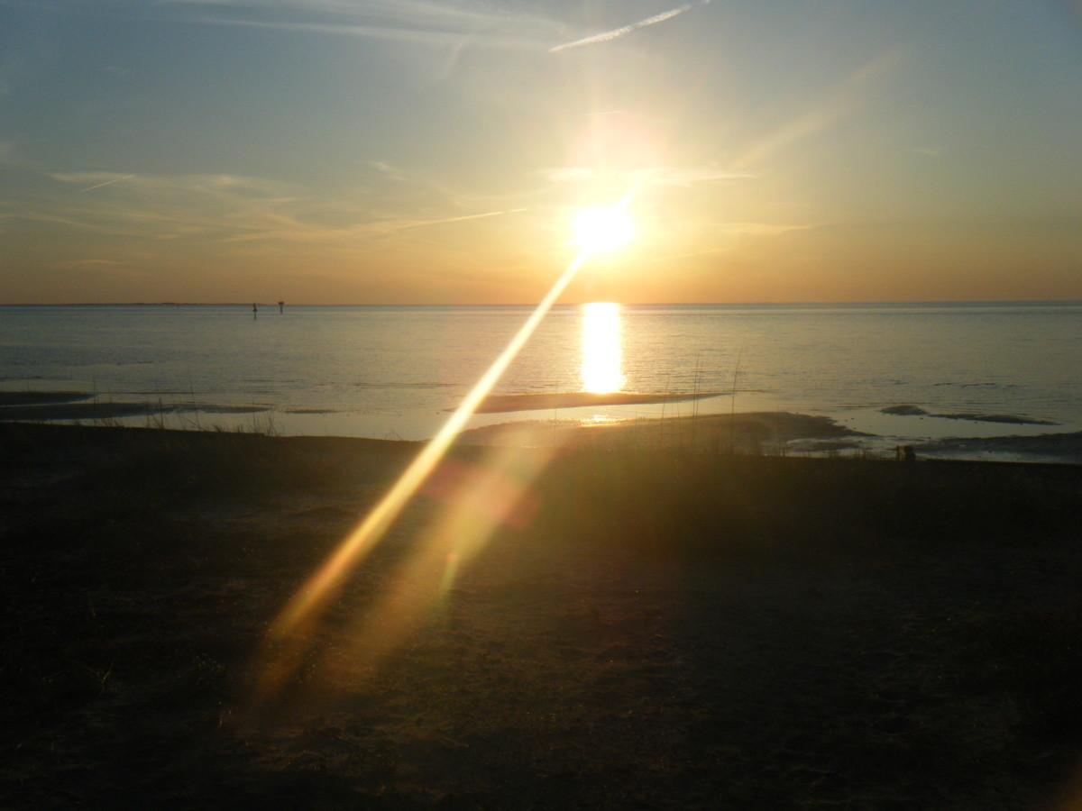 Sunset on Blackbeard's Beach just down from the Ocracoke Lighthouse