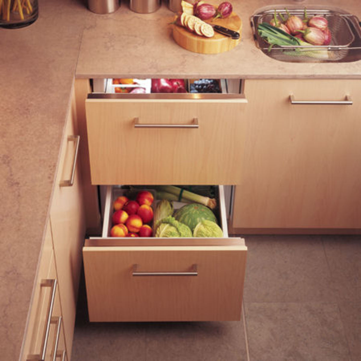 Under Counter refrigerator drawers are very functional!