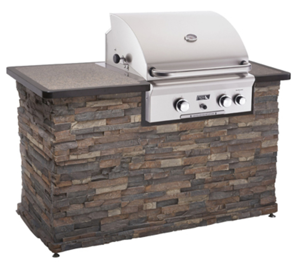 American outdoor 24 inch grill built into an outdoor kitchen.