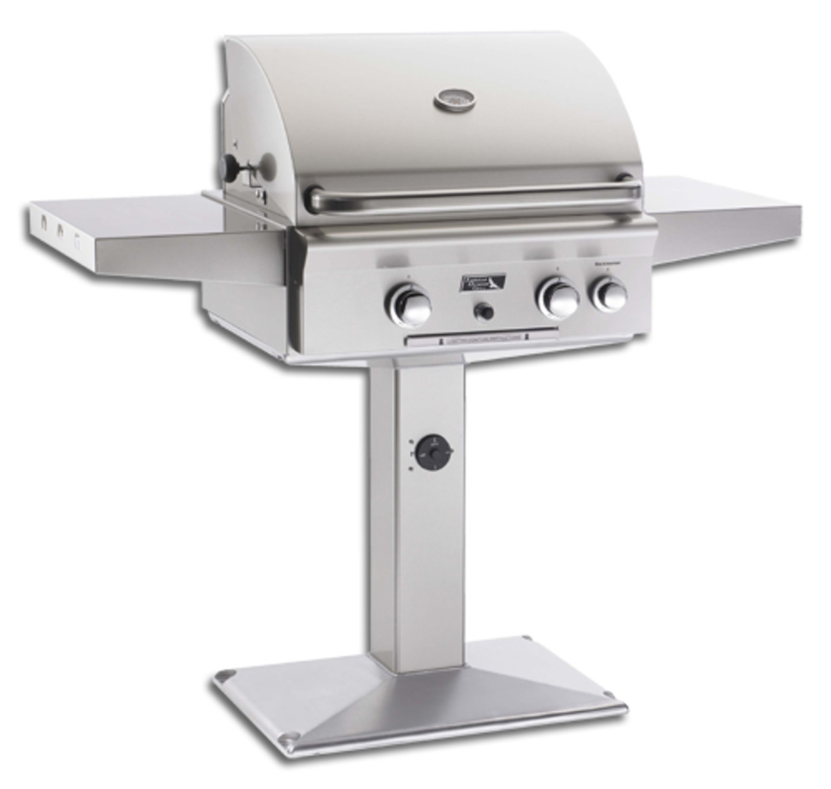 American outdoor 24 inch grill on a deck mount post.  Blue flame burners are swappable for high heat infrared burner.