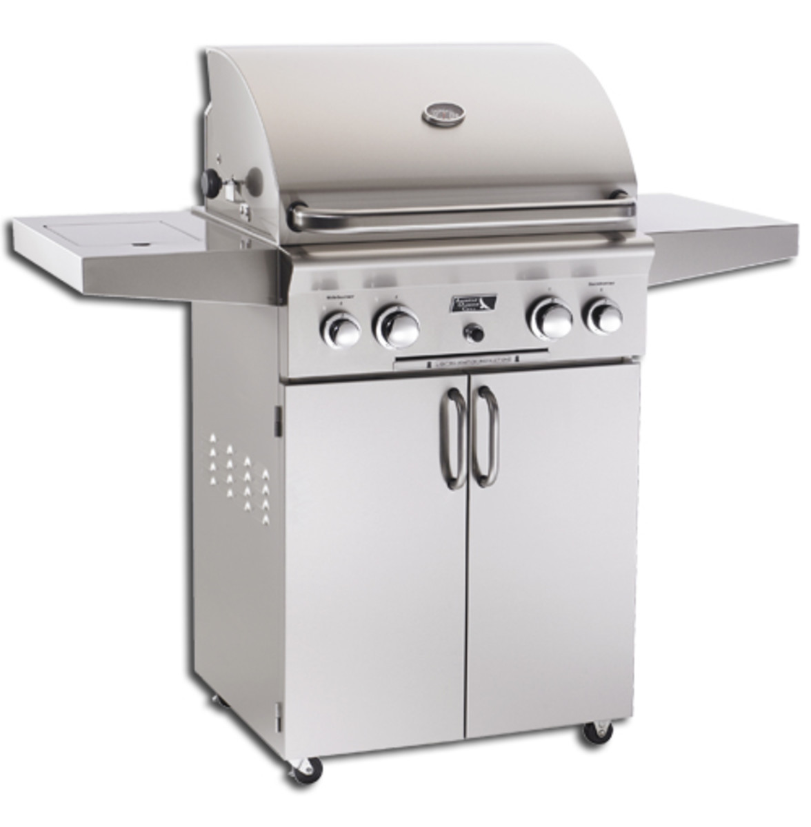 American outdoor 24 inch grill on a portable cart.