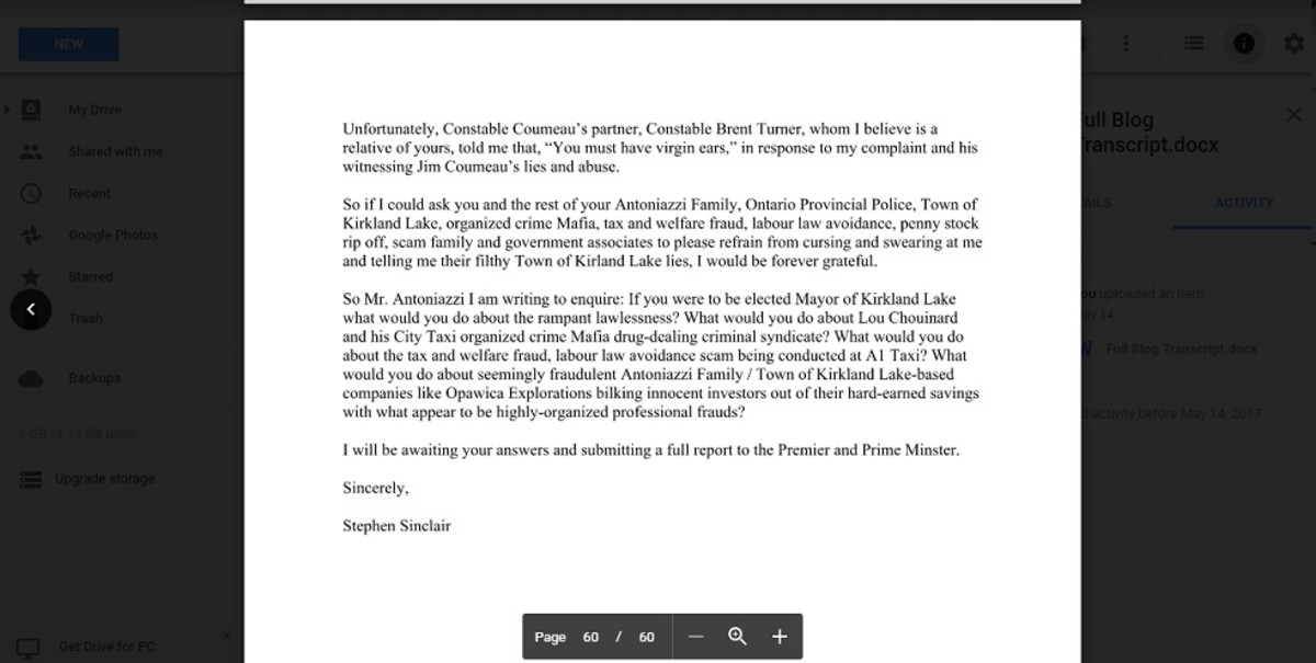 Part two of open letter to Kirkland Lake Mayor Tony Antoniazzi from September 2014